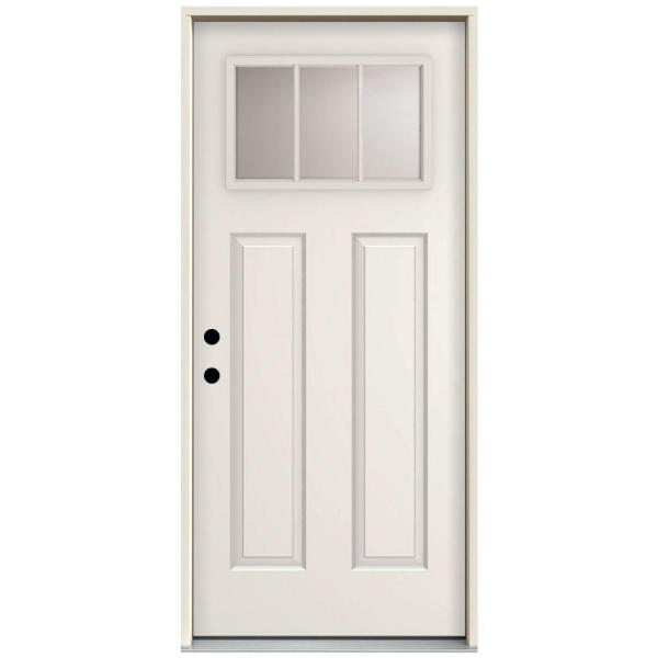 32 in. x 80 in. 3 Lite Right-Hand Inswing Primed White Steel Prehung Front Door with 4 in. Wall