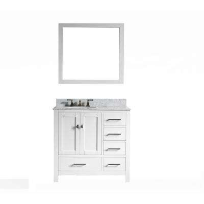 San Clemente 36 in. Vanity in White with Italian Carrara Marble Vanity Top in White with White Basin