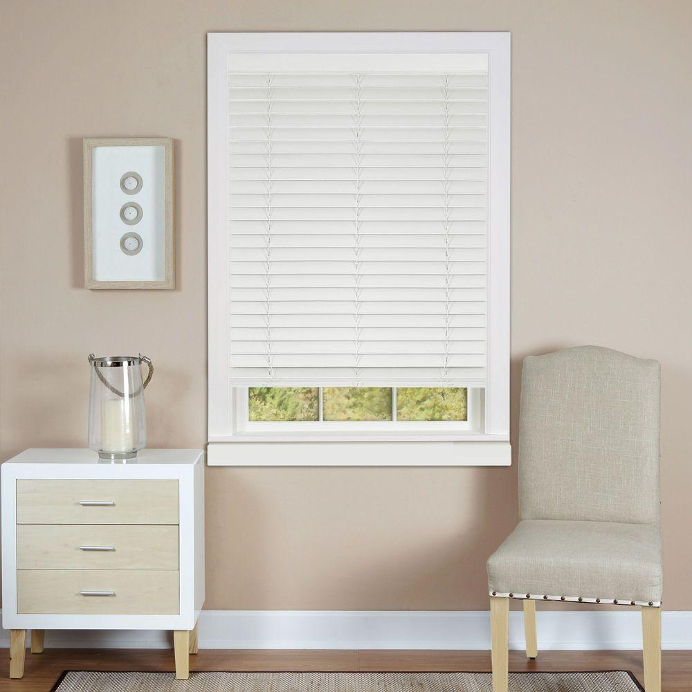 White Cordless 2 in. Faux Wood Madera Falsa Plantation Blind -