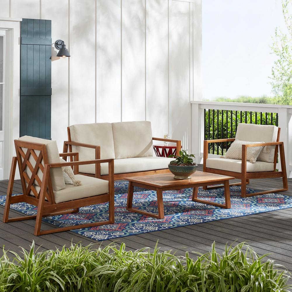 Hampton Bay Willow Glen Farmhouse 4-Piece Wood Outdoor Patio Conversation Seating Set with Teak Finish and Beige Cushion