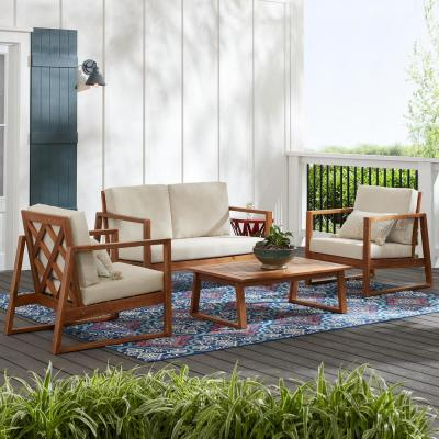 Willow Glen Farmhouse 4-Piece Teak Wood Outdoor Patio Conversation Seating Set with Beige Cushion