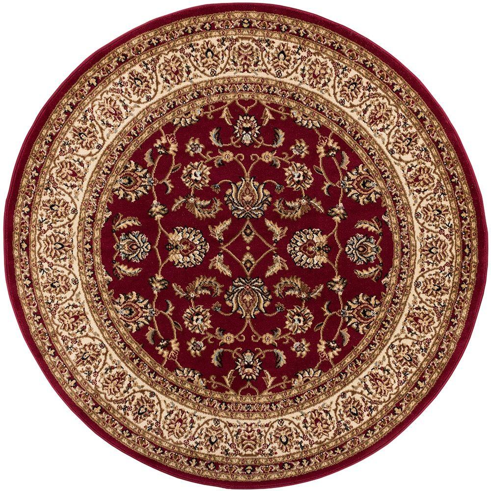 Well Woven Barclay Sarouk Red 4 Ft X 4 Ft Round Area Rug