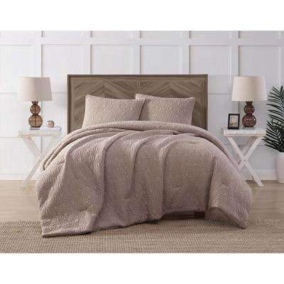 Ocean Washed Cotton Quilted Top Tan King Comforter Set