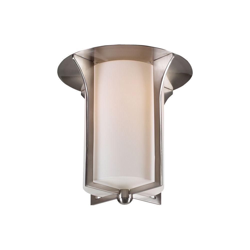1 Light Flush Mount Ceiling Light Satin Nickel Finish Matte Opal Glass