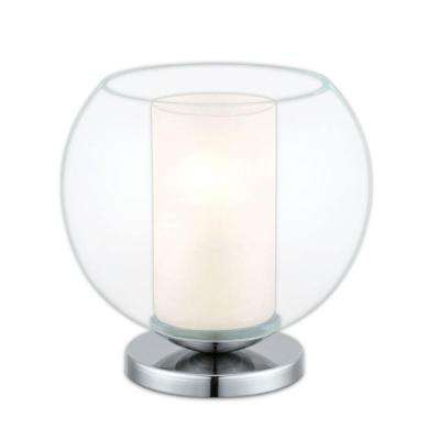 Bolsano 7.87 in. Chrome and Clear Table Lamp
