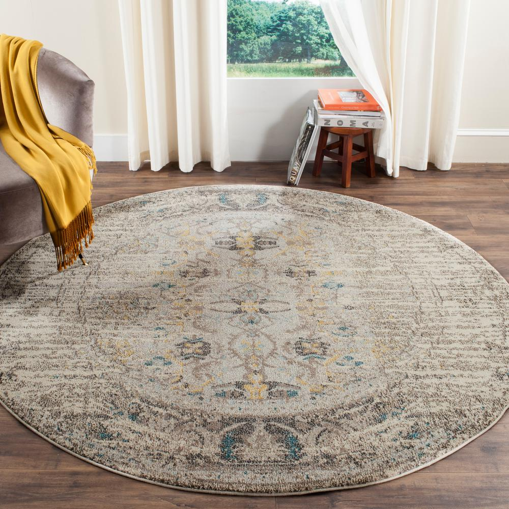 Safavieh Monaco Gray Multi 9 Ft X 9 Ft Round Area Rug