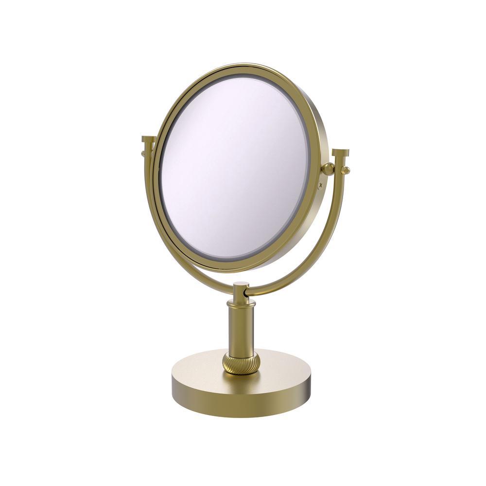 8 in. x 15 in. x 5 in. Vanity Top Makeup Mirror 5X Magnification in Satin Brass