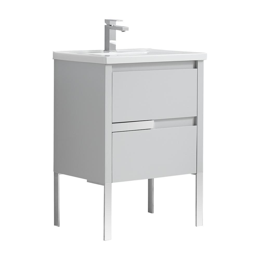 Braxton 24 in. W x 18 in. D Bath Vanity in Dove Gray with Ceramic Vanity Top in White with White Basin