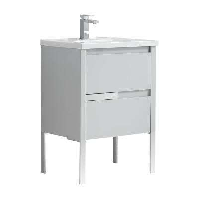 Braxton 24 in. W x 18 in. D Bath Vanity in Dove Gray with Ceramic Vanity Top in White with White Basin
