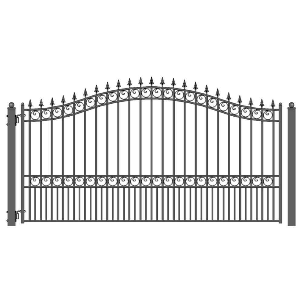London Style 14 ft. x 6 ft. Black Steel Single Swing Driveway Fence Gate