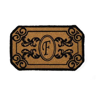Perfect Home Kingston Brown 39 in. x 24 in. Monogram F Door Mat-DISCONTINUED