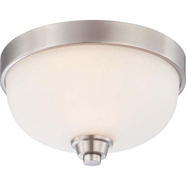 1-Light Brushed Nickel Flush Mount Dome Fixture with Satin White Glass