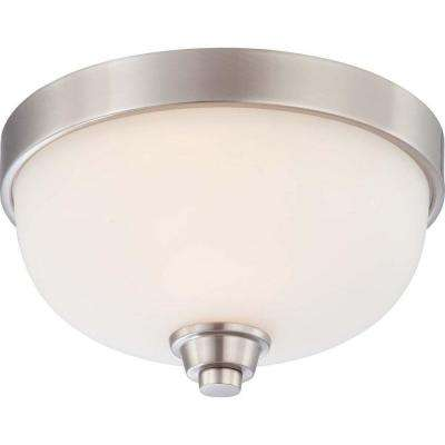 1-Light Brushed Nickel Flushmount Dome Fixture with Satin White Glass
