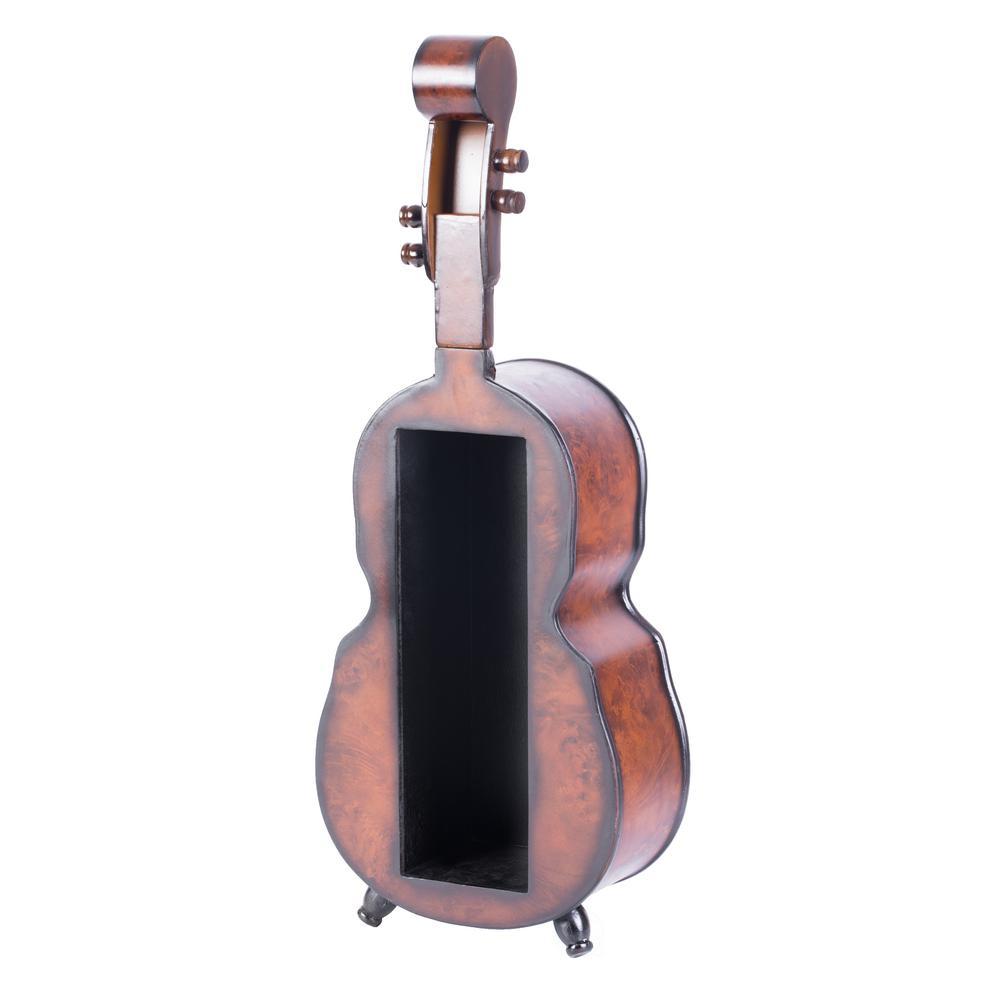 Wooden Single Bottle Violin Shaped Vintage Decorative Wine Holder