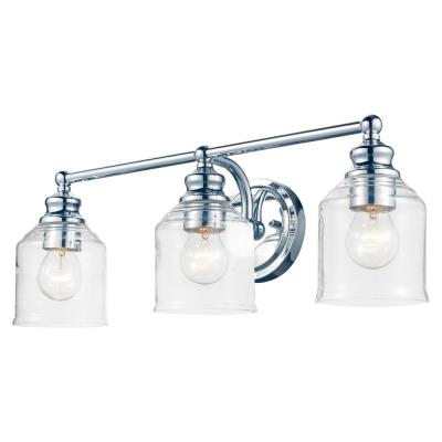 24 in. 3-Light Chrome Vanity Light with Clear Glass