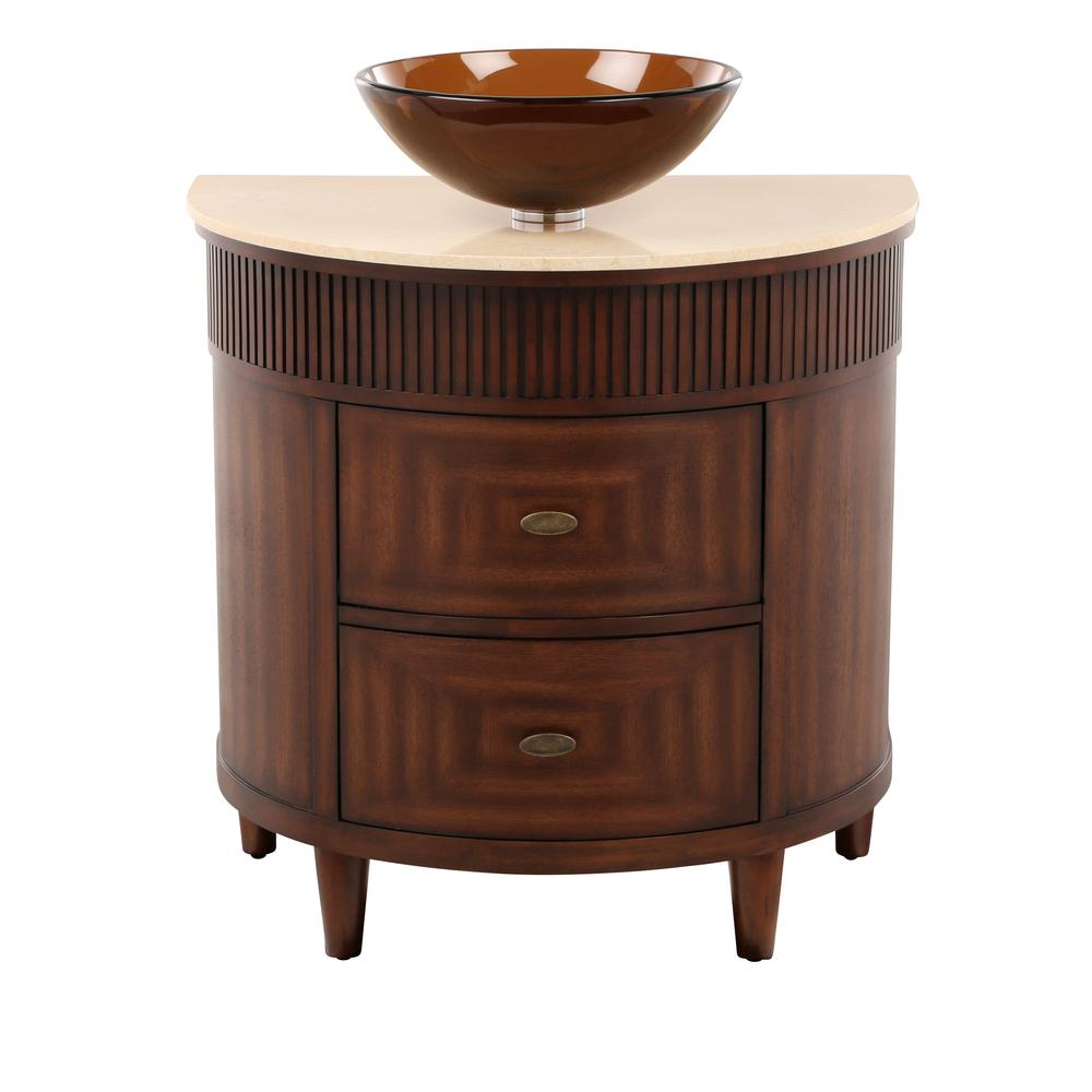 Home Decorators Collection Fuji 32 in. W x 21 in. D Bath Vanity in Old Walnut with Marble Vanity Top in Cream and Brown Glass Sink was $765.0 now $535.5 (30.0% off)
