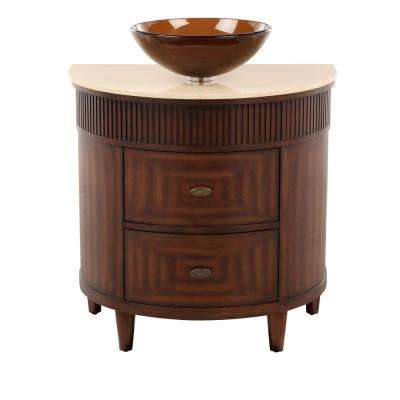 Fuji 32 in. W x 21 in. D Bath Vanity in Old Walnut with Marble Vanity Top in Cream and Brown Glass Sink
