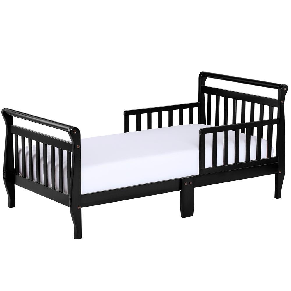Black Toddler Adjustable Sleigh Bed