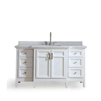 Luz 60 in. Single Bath Vanity in White with Marble Vanity Top in Carrara White with White basin