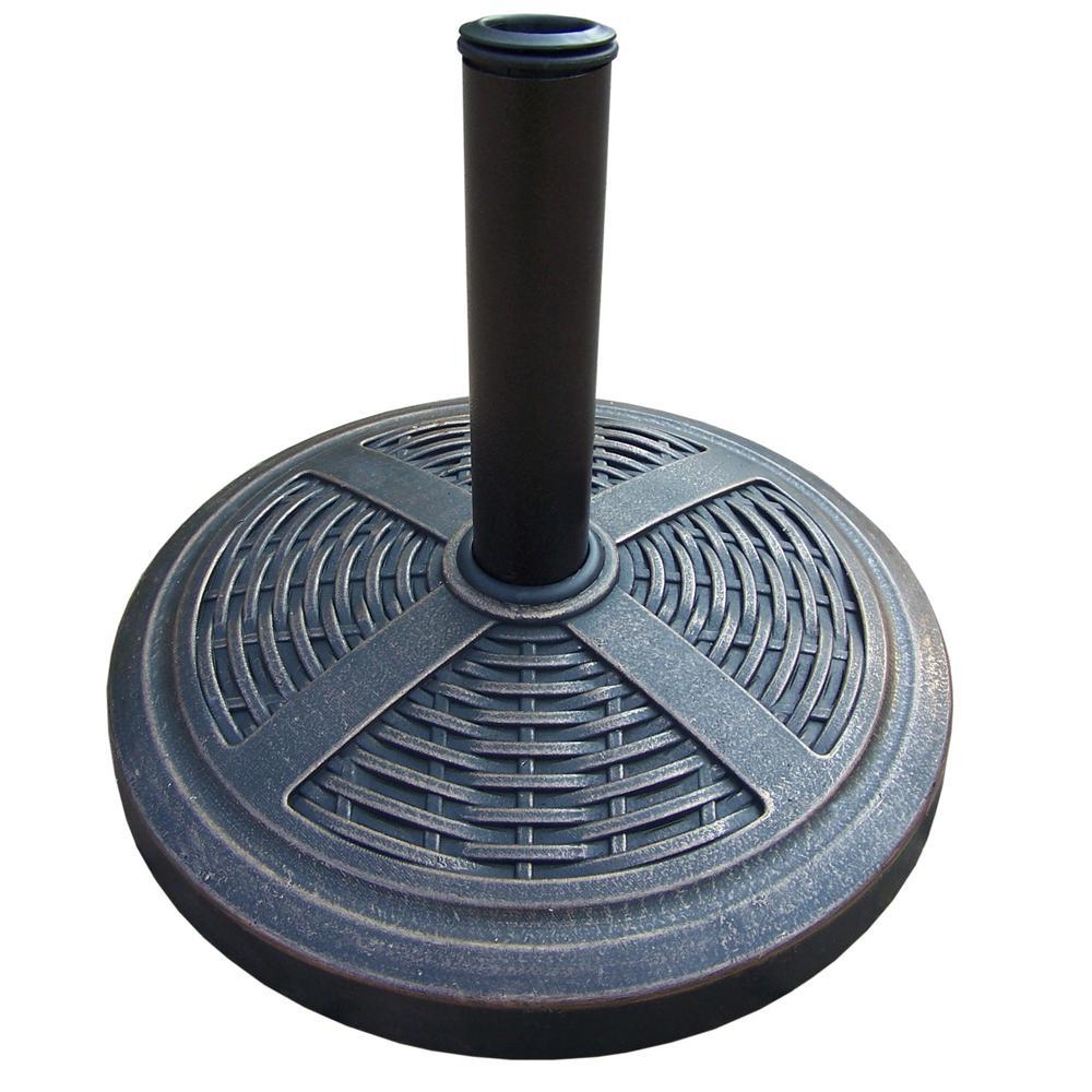 18 in. Basket Wave Patio Umbrella Base in Antique Bronze