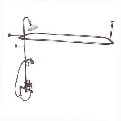 3-Handle Rim Mounted Claw Foot Tub Faucet with Riser, Hand Shower, Shower Head and Shower Rod in Polished Nickel