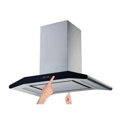 30 in. Convertible Island Range Hood in Stainless Steel with Silencer Panel, 800 CFM and 2 sides 5 Speed Touch Control