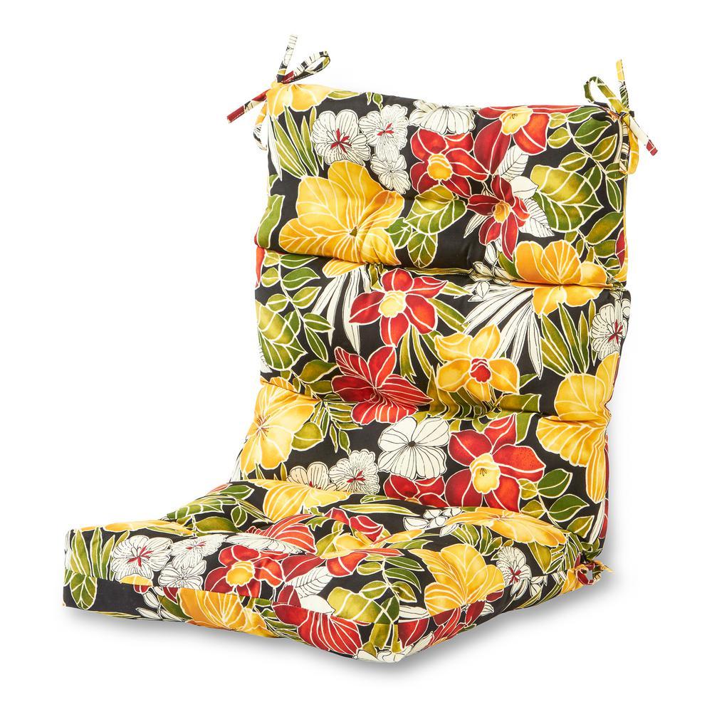 Aloha Black Outdoor High Back Dining Chair Cushion