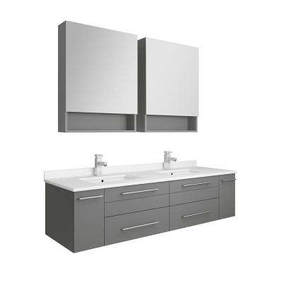 Lucera 60 in. W Wall Hung Vanity in Gray with Quartz Double Sink Vanity Top in White with White Basins, Medicine Cabinet