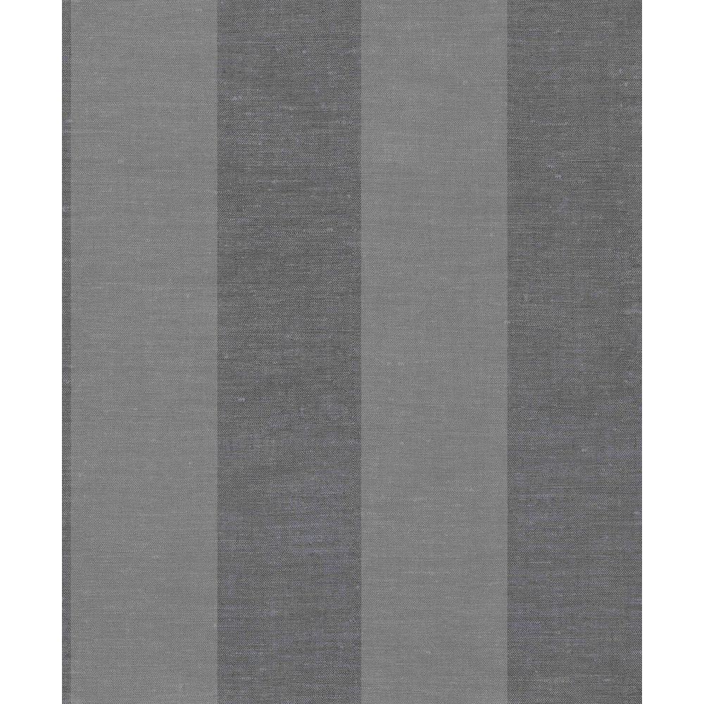 Dark Grey Large Linen Stripes Wallpaper