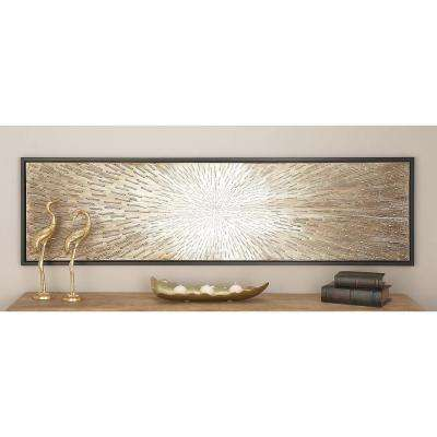"""20 in. x 71 in. """"Radial Brown Sticks"""" Polystone and Canvas Art"""