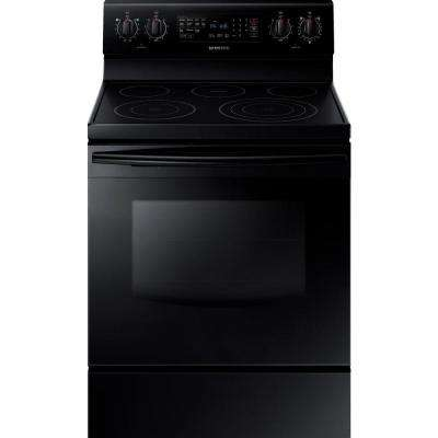 30 in. 5.9 cu. ft. Electric Range with Self-Cleaning Convection Oven in Black