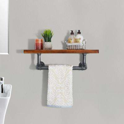 Manchester Industrial Floating Silver Brushed Gray Pipe Wall Shelf with Walnut Wood