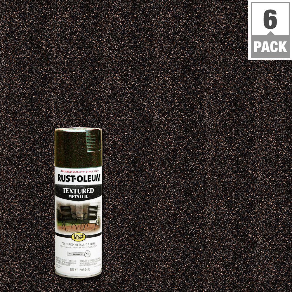 12 oz. Protective Enamel Mystic Brown Textured Metallic Spray Paint (6-Pack)