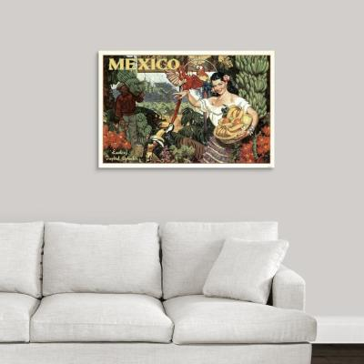 """""""Mexico - Vintage Travel Advertisement"""" by Vintage Apple Collection Canvas Wall Art"""