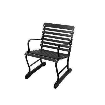 22 in. Black and Black Patio Arm Chair