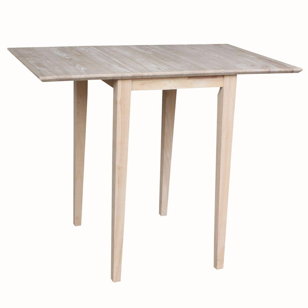 International Concepts Small Drop Leaf Wood Unfinished Dining ...