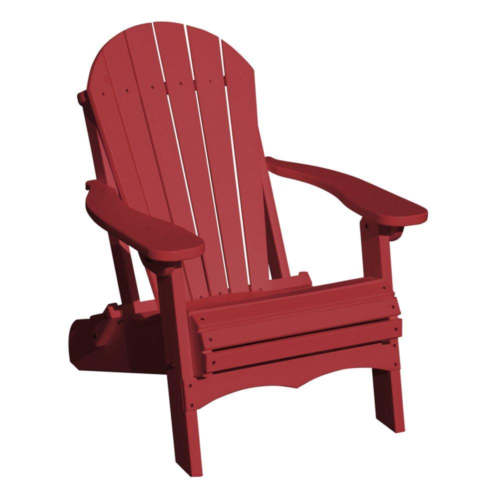 Vifah Roch Recycled Plastics Folding Adirondack Patio Chair in Burgundy-DISCONTINUED