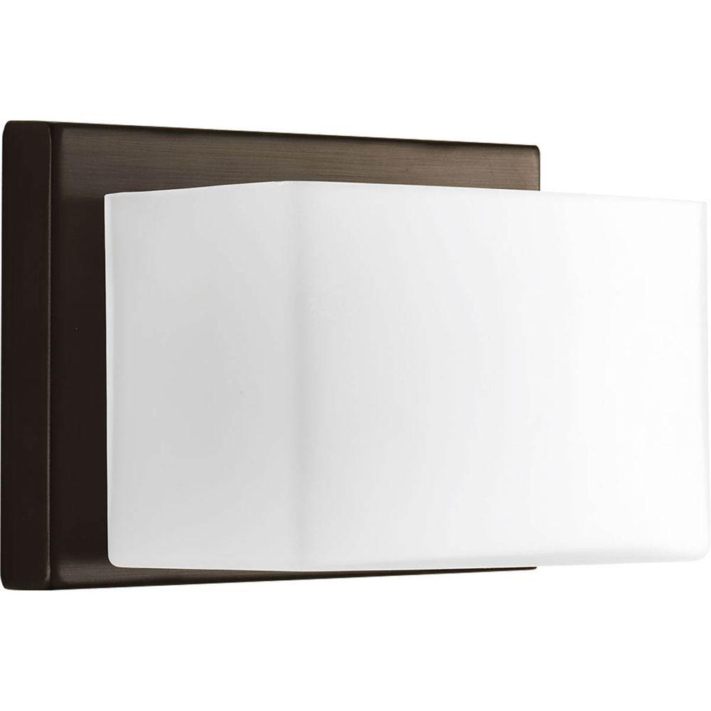 Ace Collection 1-Light Antique Bronze LED Bath Sconce with Frosted Glass