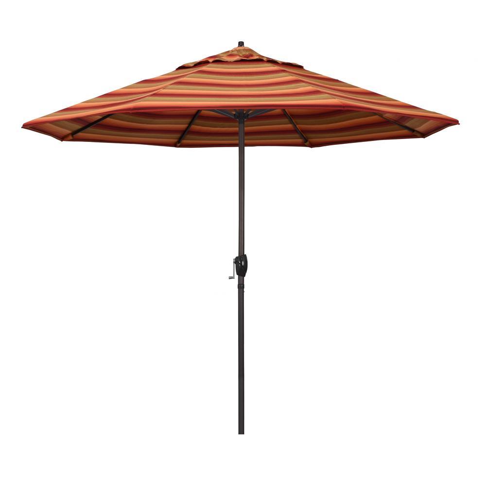 9 ft. Bronze Aluminum Market Auto-tilt Crank Lift Patio Umbrella in Astoria Sunset Sunbrella