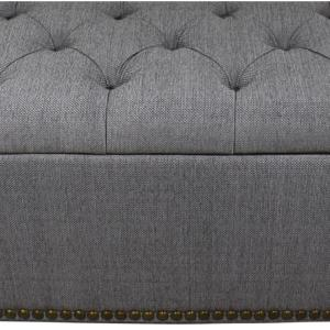 Swell 18 In Tufted Grey Storage Bench And 3 Piece Ottoman Seating Ncnpc Chair Design For Home Ncnpcorg