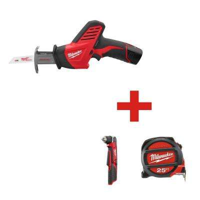 M12 12-Volt HACKZALL Reciprocating Saw 1-Battery with Free M12 3/8 in. Right Angle Drill and 25 ft. Tape Measure