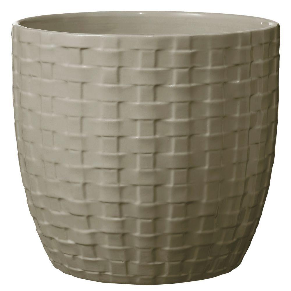 SK Kiruna 6 in. Dia Light Gray Ceramic Planter