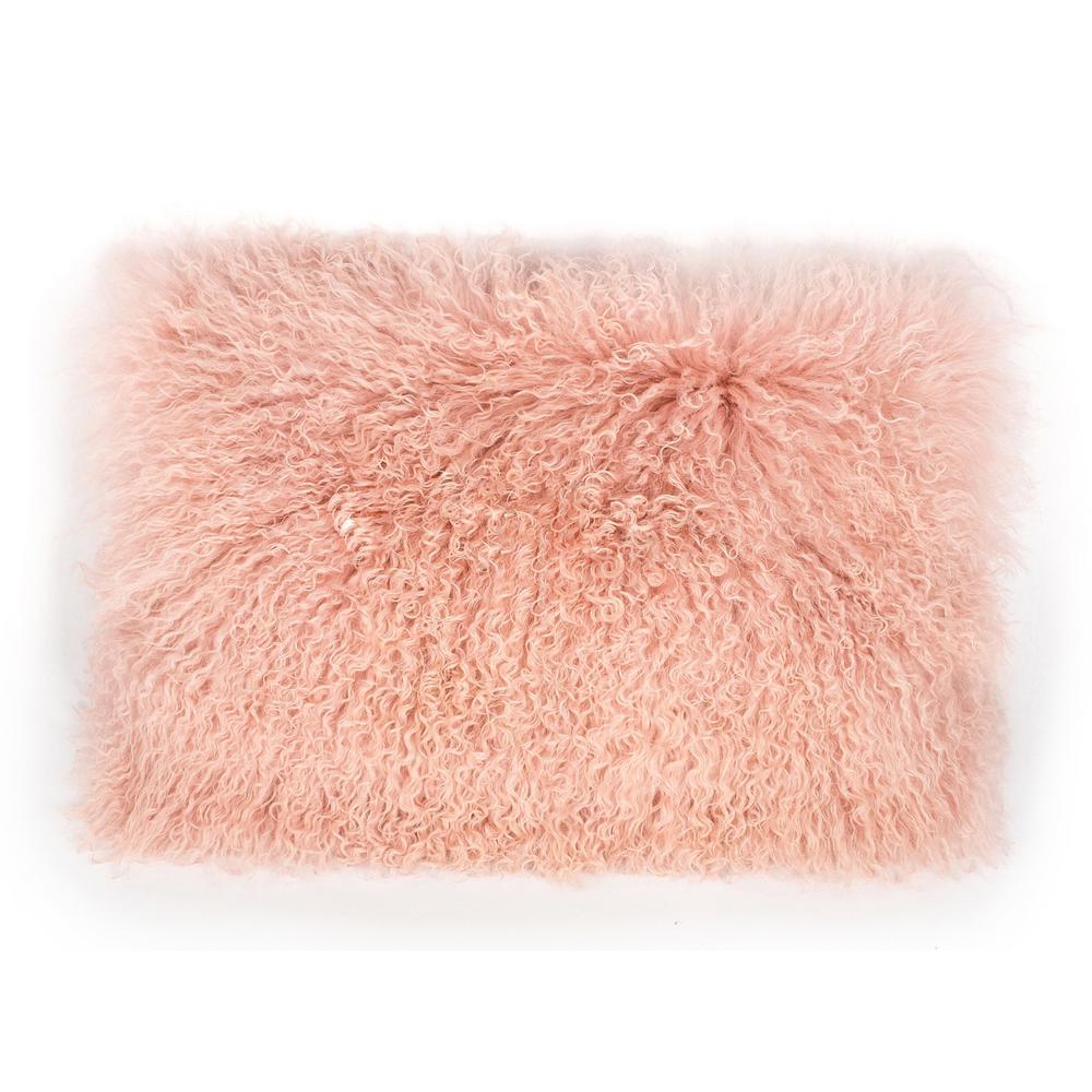 Tibetan Sheep Large Blush Throw Pillow