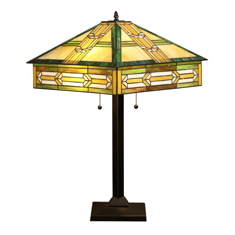 Castiel 23 in. Antique Bronze Green Indoor Table Lamp with Pull