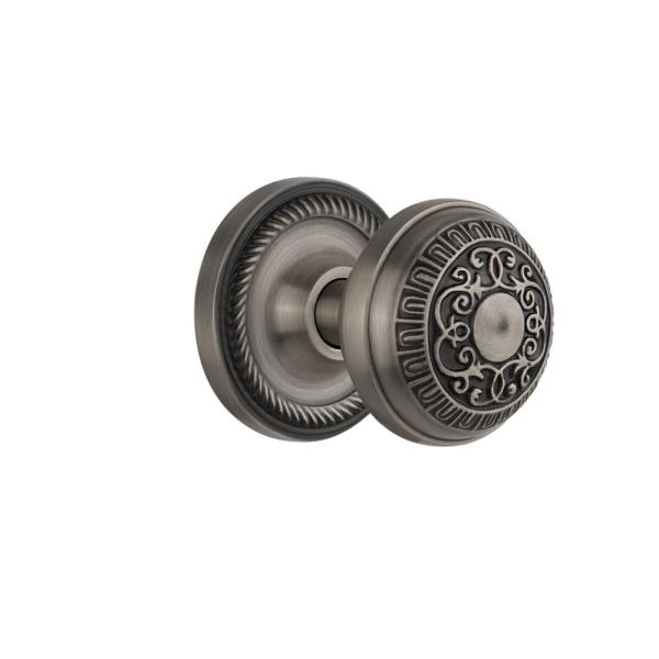 Nostalgic Warehouse Rope Rosette Single Dummy Egg And Dart Door Knob In Antique Pewter 702561 The Home Depot
