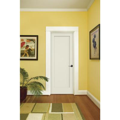 30 in. x 80 in. Madison White Painted Left-Hand Smooth Solid Core Molded Composite MDF Single Prehung Interior Door