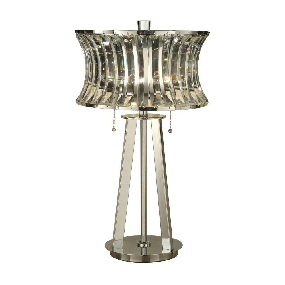 Dale Tiffany 27 in. Polished Chrome Table Lamp with Crystal Shade-DISCONTINUED