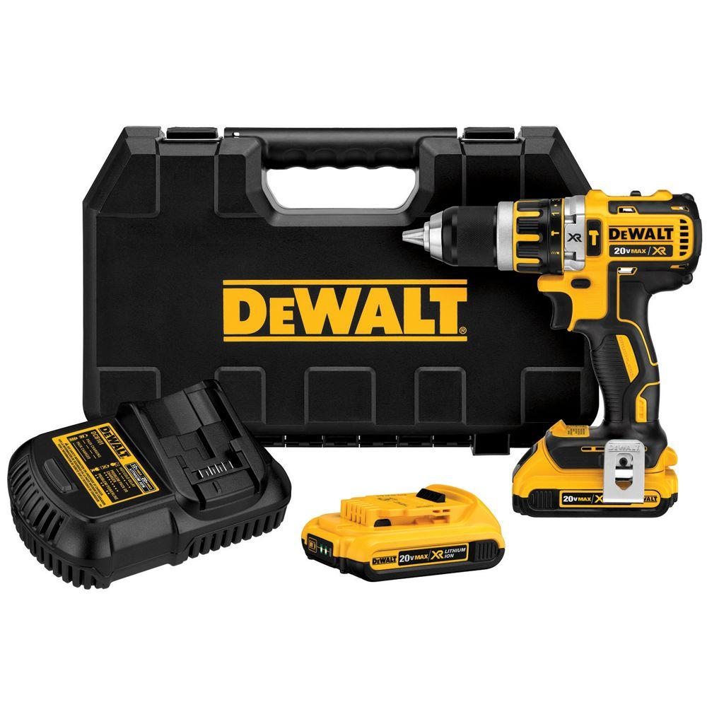 DEWALT 20-Volt MAX Lithium-Ion Cordless Brushless Compact Hammer Drill Kit