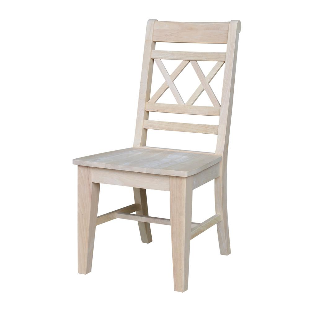 International Concepts Canyon Unfinished Wood Double X Back Dining Chair  (Set Of 2)