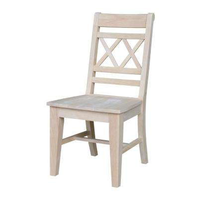 Canyon Unfinished Wood Double X-Back Dining Chair (Set of 2)